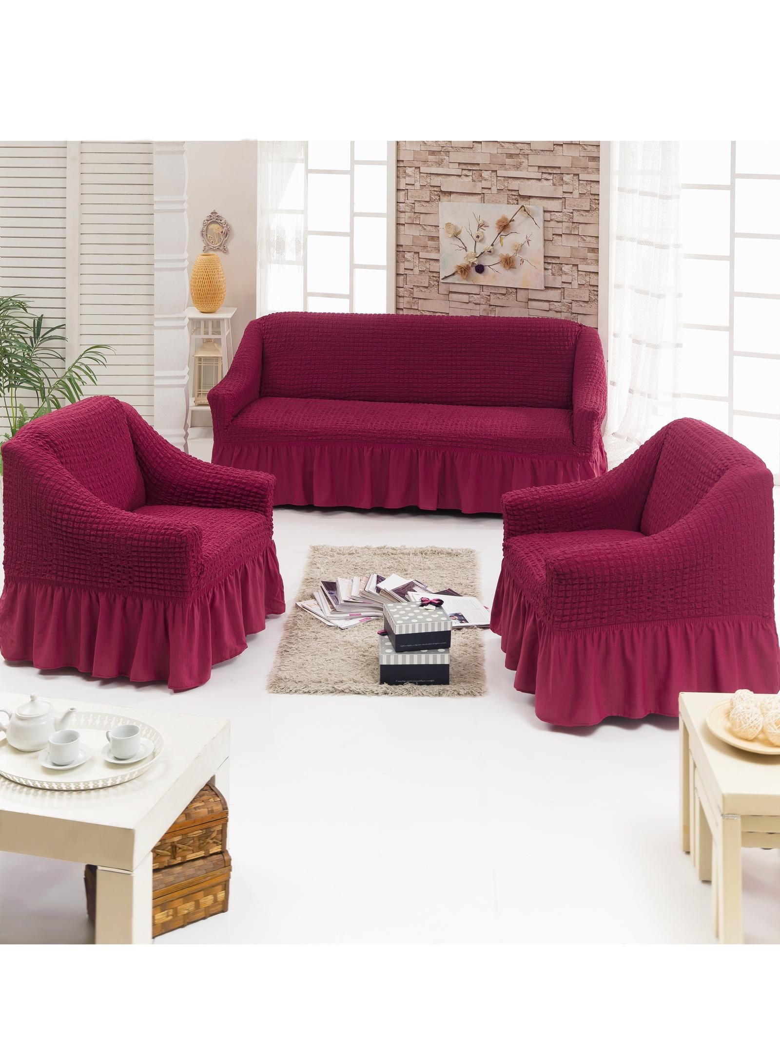 Чехол на мебель JUANNA Чехол д/мягкой мебели 3-х пр.(3+1+1) JUANNA_бордовый, бордовый комплект мягкой мебели пульсар 3 3 1 1