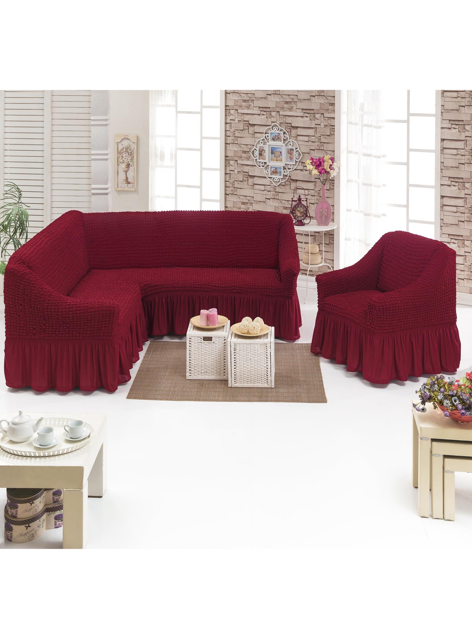 Чехол на мебель JUANNA Чехол д/мягкой мебели Угловой 2-х пр.(3+1) кресла 1шт JUANNA_бордовый, бордовый