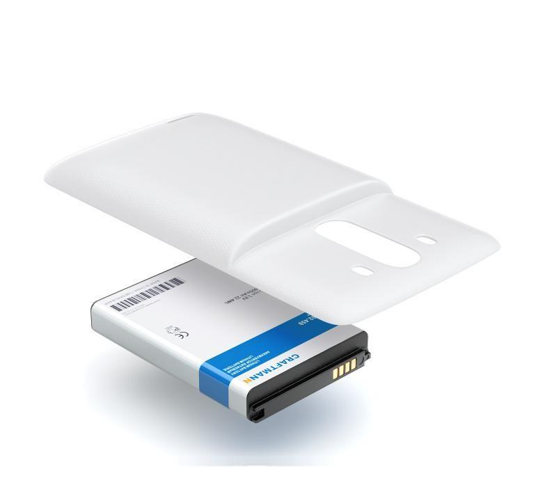 Аккумулятор для телефона Craftmann Аккумулятор BL-53YH для LG D855 G3 с увеличенной ёмкостью до 5900 mAh и крышкой белого цвета аккумулятор для телефона craftmann b020 для meizu mx2