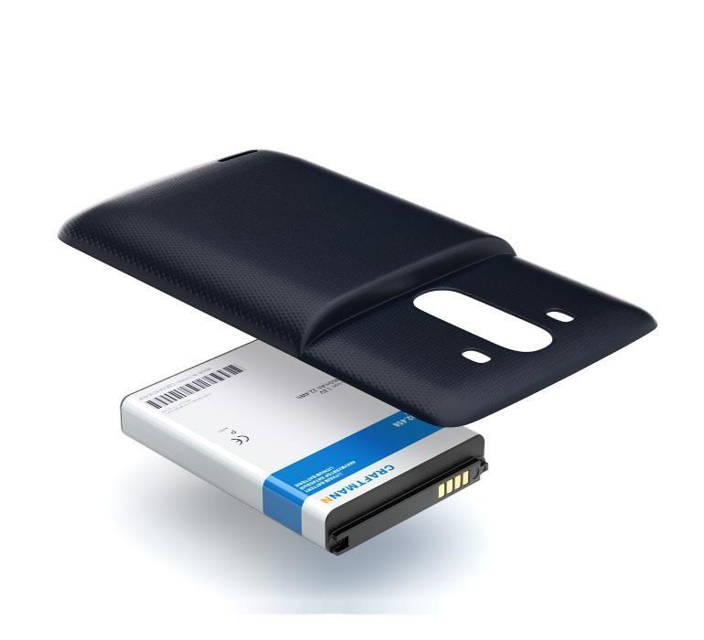 Аккумулятор для телефона Craftmann BL-53YH для LG D855 G3 с увеличенной ёмкостью до 5900 mAh и крышкой чёрного цвета. аккумулятор для телефона craftmann для apple iphone 6 с повышенной ёмкостью до 2170 mah 616 0807