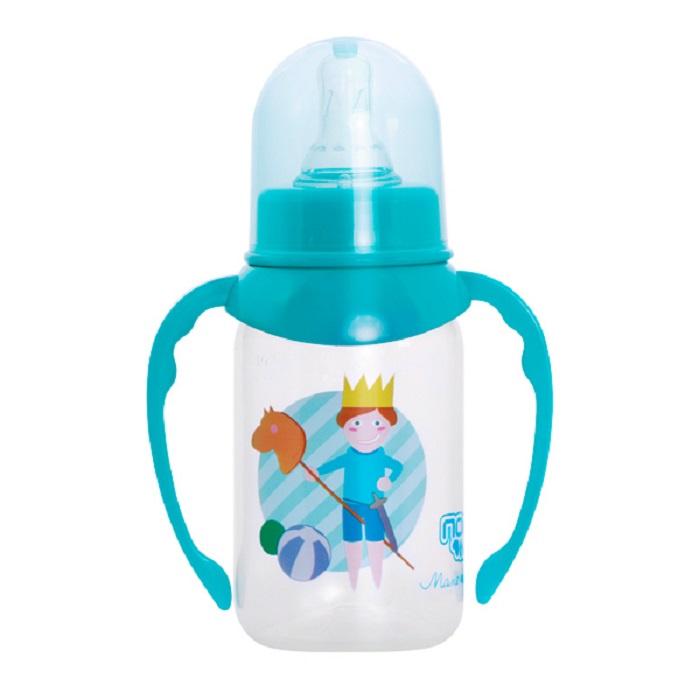 Бутылочка для кормления ПОМА 125 мл голубой, прозрачный бутылочки пома для кормления с ручками 250 мл