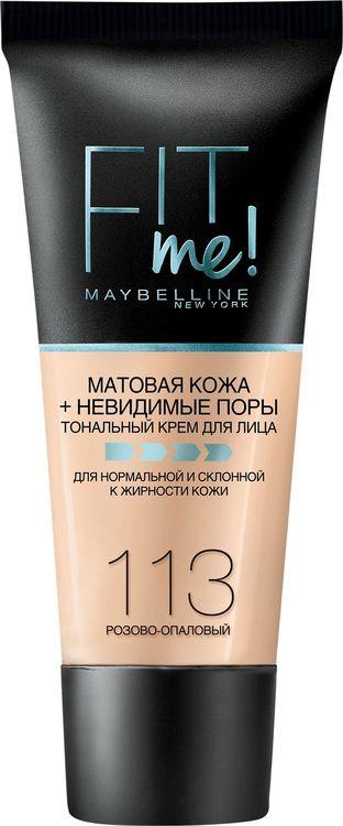 Тональный крем Maybelline New York Fit Me, матирующий, скрывающий поры, тон 113, розово-опаловый, 30 мл