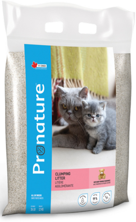 Наполнитель для кошачьего туалета Pronature, комкующийся, с ароматом детской присыпки, 12 кг наполнитель для кошачьего туалета catsan 9572 ультра комкующийся 5л
