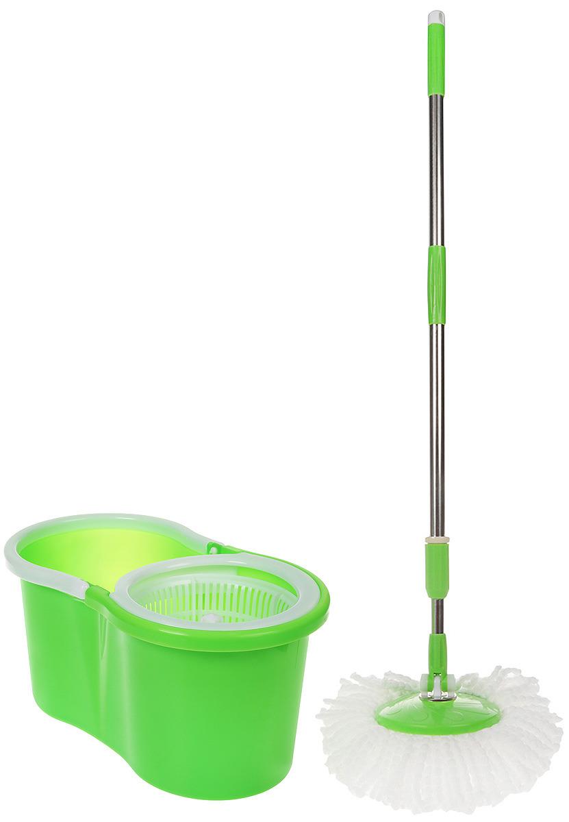 Комплект для уборки Rosenberg: швабра и ведро с отжимом, 77.858@27740, светло-зеленый