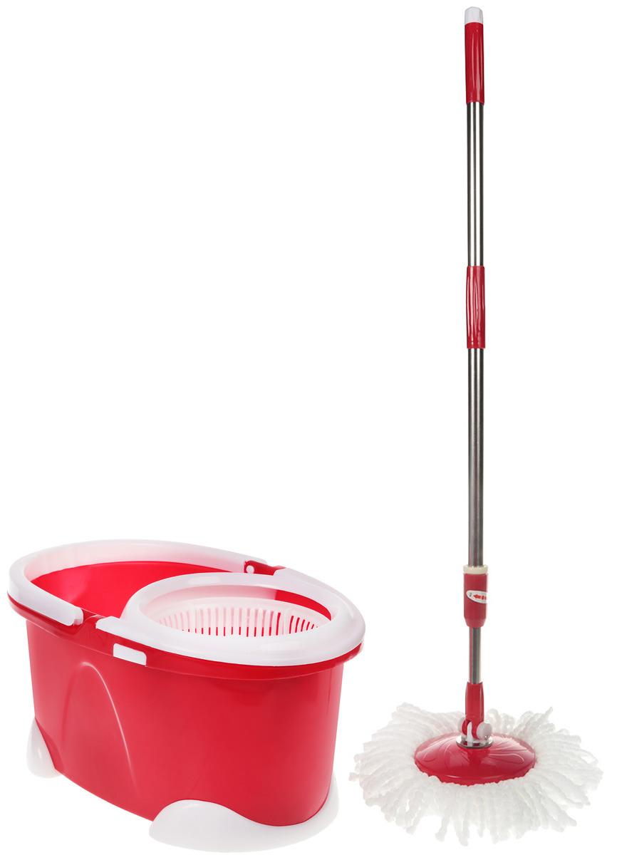 Комплект для уборки Rosenberg: швабра и ведро с отжимом, 77.858@26613, красный