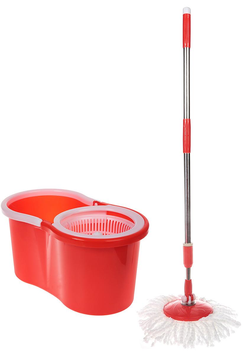 Комплект для уборки Rosenberg: швабра и ведро с отжимом, 77.858@26612, красный