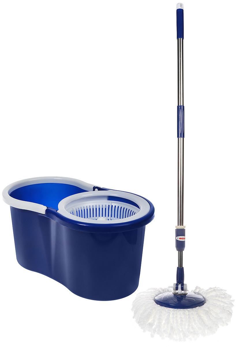 Комплект для уборки Rosenberg: швабра и ведро с отжимом, 77.858@26611, синий