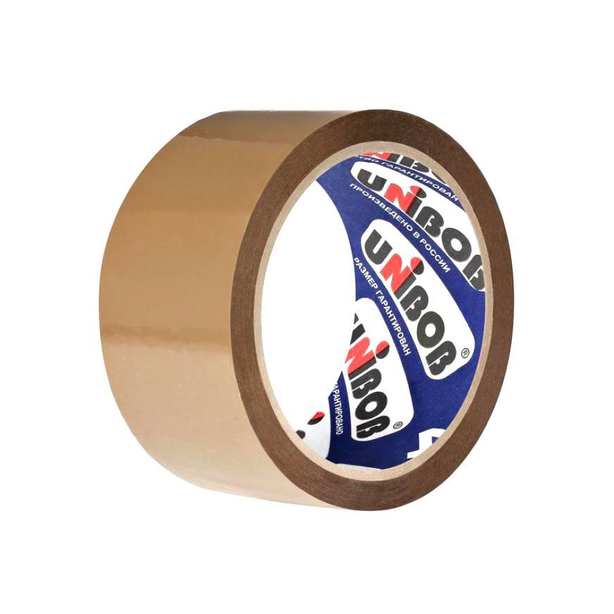 Скотч Unibob 48 мм х 24 м упаковочная коричневая клейкая (липкая) лента, 45 мкм клейкая лента упаковочная unibob 600 белая 48ммх66м 45мкм