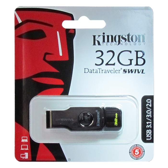 USB Флеш-накопитель Kingston Swivl USB 3.1 32GB, черный kingston черный