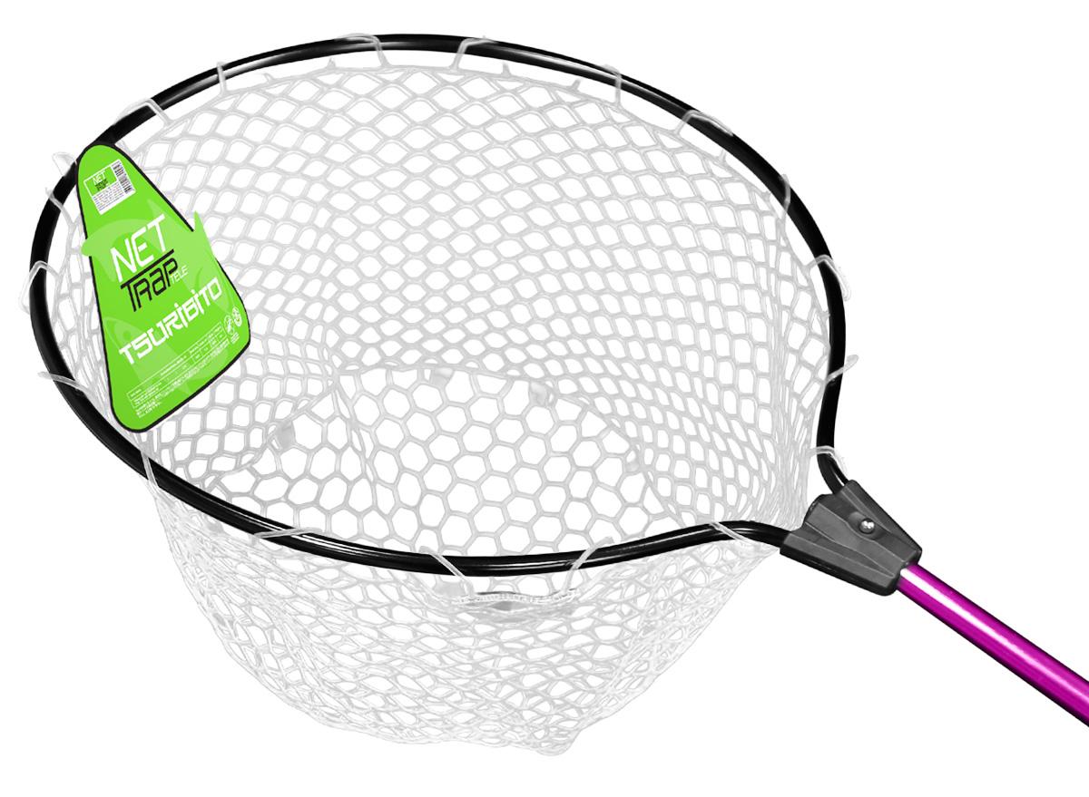 Подсачек Tsuribito Net Trap Fold, с прозрачной силиконовой сеткой, складной, фиолетовая ручка