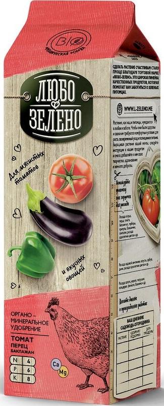 Удобрение органо-минеральное Любо-Зелено, для томатов, перцов и баклажанов, 1 л удобрение florizel гелеобразное органическое биогумус для томатов и перцев 350мл
