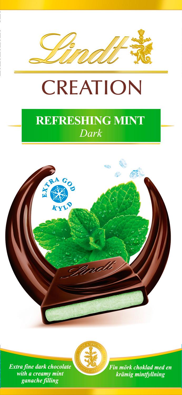 Шоколад темный Lindt Creation Мята, 150 г шоколад молочный lindt creation пралине с вафлей 150 г