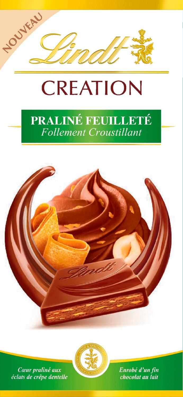Шоколад молочный Lindt Creation Пралине с вафлей, 150 г lindt creation шоколад фондан молочный шоколад c начинкой 100 г