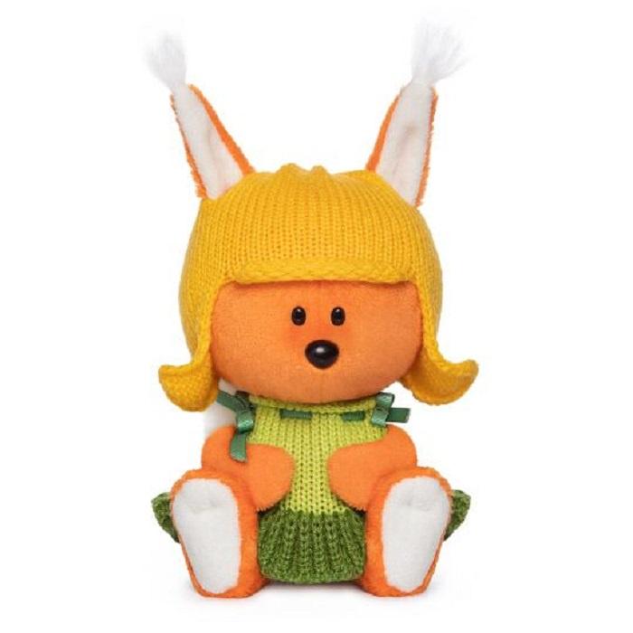 Мягкая игрушка Буди Баса Budibasa Белка Бика в шапочке и платье 15 см оранжевый