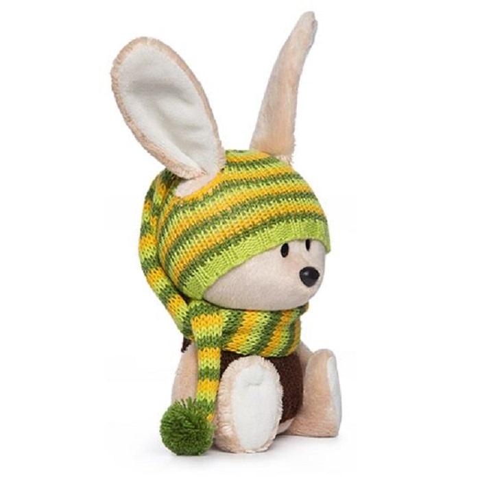 Мягкая игрушка Буди Баса Budibasa Заяц Антоша в шапочке и свитере 15 см бежевый
