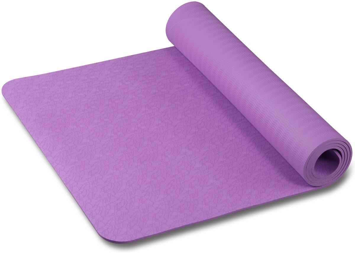 Коврик для йоги и фитнеса Indigo, фиолетовый с рисунком, 173 х 61 х 0,6 см коврик для йоги onerun цвет фиолетовый 183 х 61 х 0 4 см