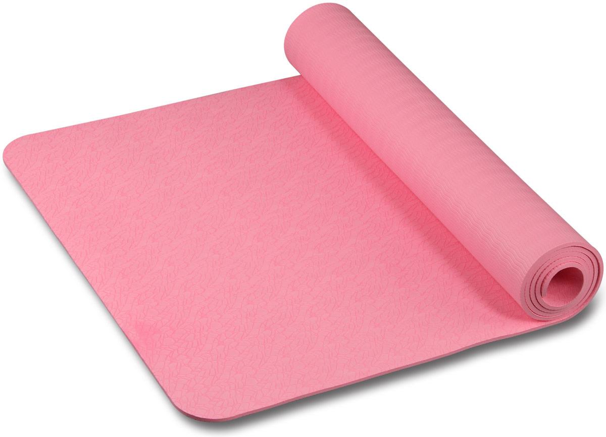 Коврик для йоги и фитнеса Indigo, розовый с рисунком, 173 х 61 х 0,6 см