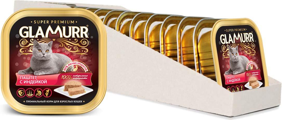 Корм консервированный Glamurr Premium, для кошек, паштет, с индейкой, 16 шт х 100 г корм консервированный dr clauder s для кошек с телятиной и индейкой 100 г