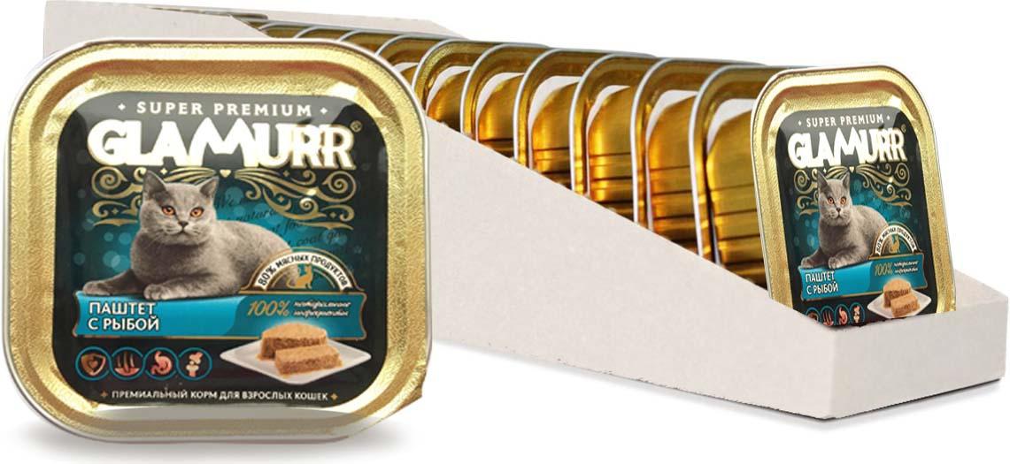 Корм консервированный Glamurr Premium, для кошек, паштет, с рыбой, 16 шт х 100 г236Нежный паштет для кошек Glamurr Premium