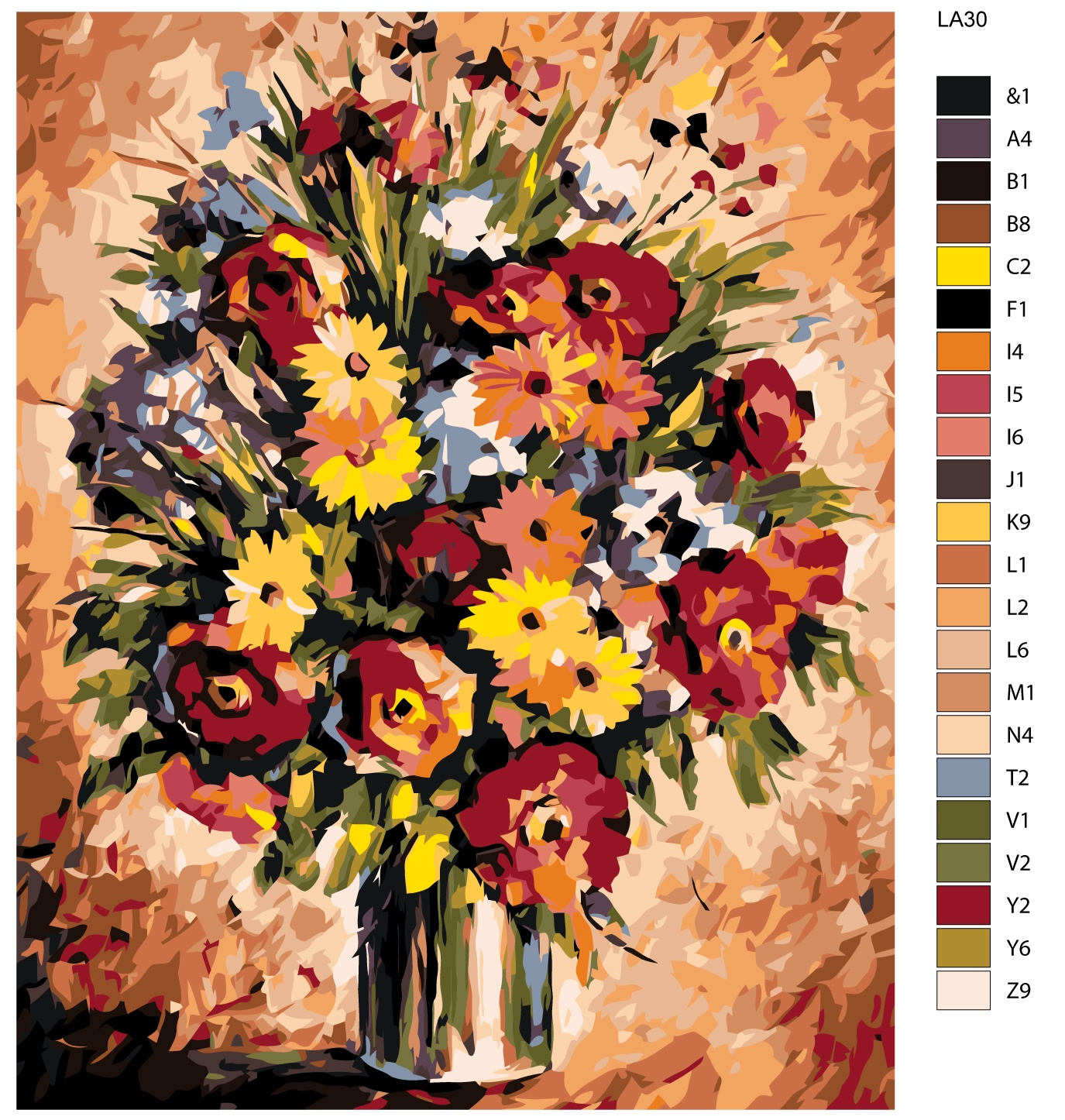 Набор для создания картины Живопись по номерам LA30LA30Количество красок от 18 до 24. Картина раскрашивается без смешивания красок. Высококачественные акриловые краски собственного производства сделают вашу картину яркой и уникальной. Все необходимые материалы есть в комплекте: натуральный хлопковый холст, натянутый на деревянный подрамник, баночки с акриловыми красками на водной основе, 3 кисти из качественного нейлона, схема раскрашивания, инструкция. Просто закрашивайте участки красками с соответствующим номером.