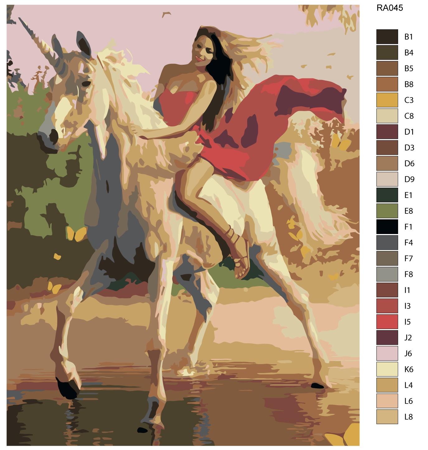 Набор для создания картины Живопись по номерам RA045RA045Количество красок от 18 до 24. Картина раскрашивается без смешивания красок. Высококачественные акриловые краски собственного производства сделают вашу картину яркой и уникальной. Все необходимые материалы есть в комплекте: натуральный хлопковый холст, натянутый на деревянный подрамник, баночки с акриловыми красками на водной основе, 3 кисти из качественного нейлона, схема раскрашивания, инструкция. Просто закрашивайте участки красками с соответствующим номером.