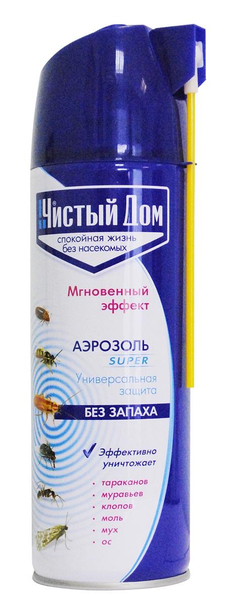 Средство от насекомых Чистый Дом Super, 02-855, 400 мл средство от насекомых дихлофос нео 190 мл от летающих и ползающих насекомых
