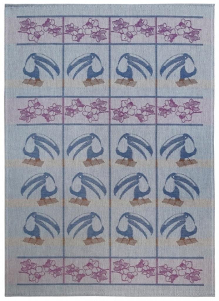Полотенце кухонное Белорусский лен 17с102/Тукан, зеленый, фиолетовый, синий