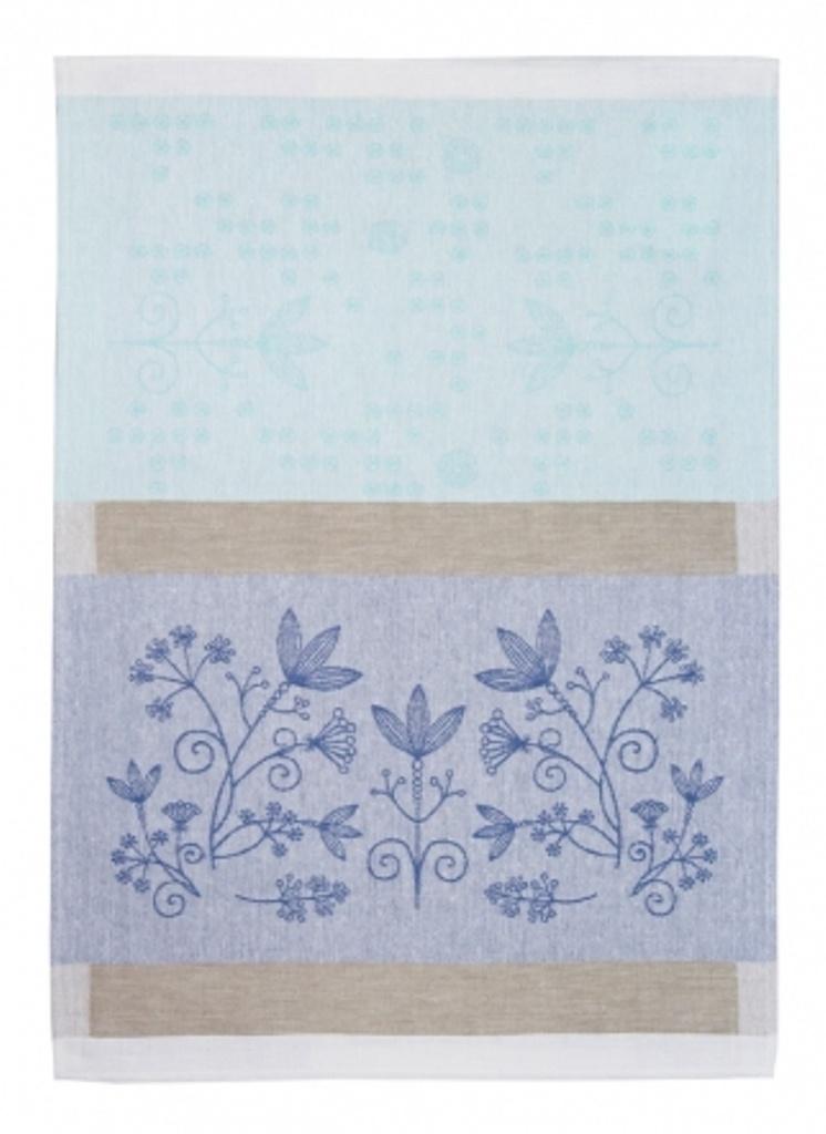 Полотенце кухонное Белорусский лен 17с102/Травы/Мята, светло-зеленый, голубой