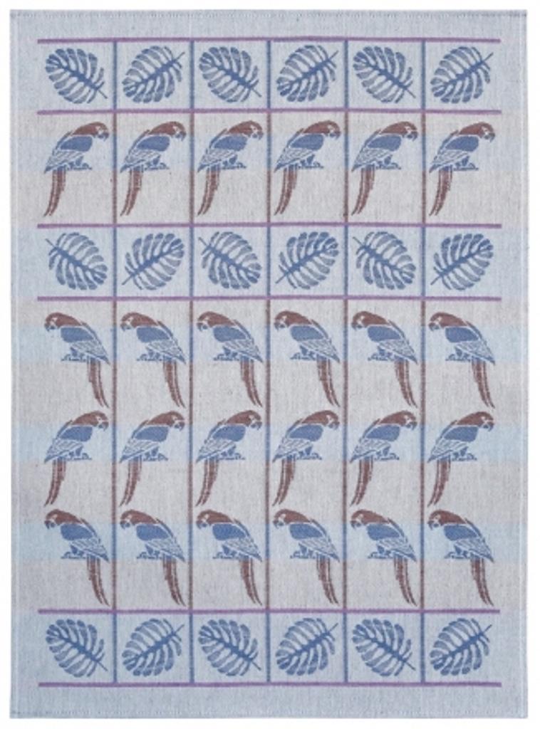 Полотенце кухонное Белорусский лен 17с102/Попугай, синий, коричневый