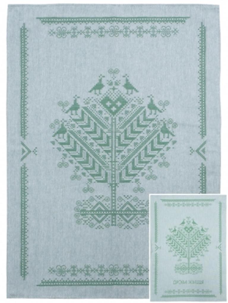Полотенце кухонное Белорусский лен 17с102/Древо жизни/зеленый, зеленый