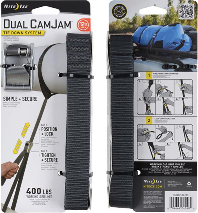 Крепление такелажное NiteIze Dual CamJam Tie Down System 12 ft, CJD12-09-R3, стальной цена