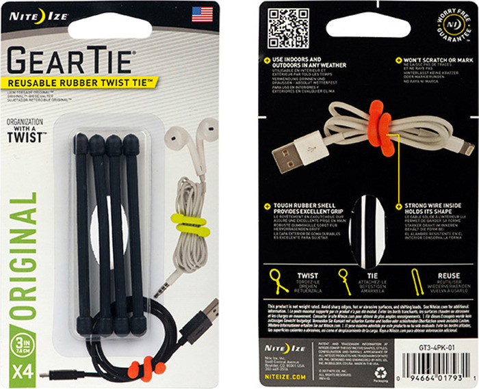 Гибкие стяжки NiteIze Gear Tie 3, GT3-4PK-01, черный, 4 шт