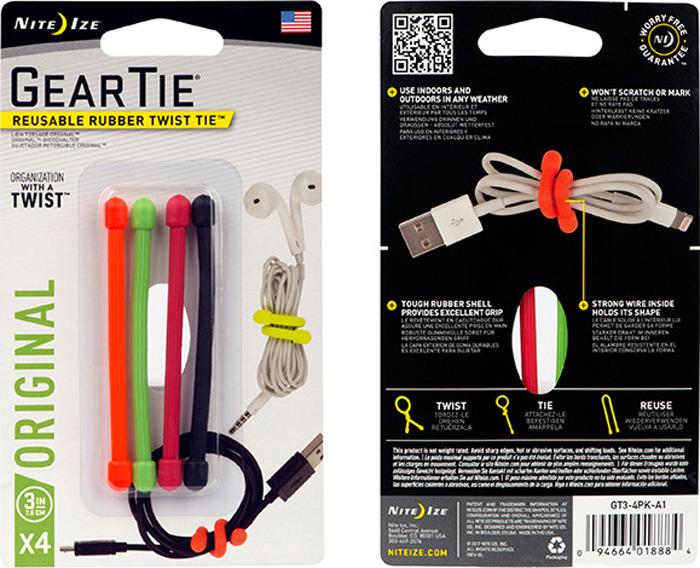 Гибкие стяжки NiteIze Gear Tie 3, GT3-4PK-A1, разноцветный, 4 шт