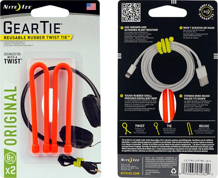 Гибкие стяжки NiteIze Gear Tie 6, GT6-2PK-31, оранжевый, 2 шт