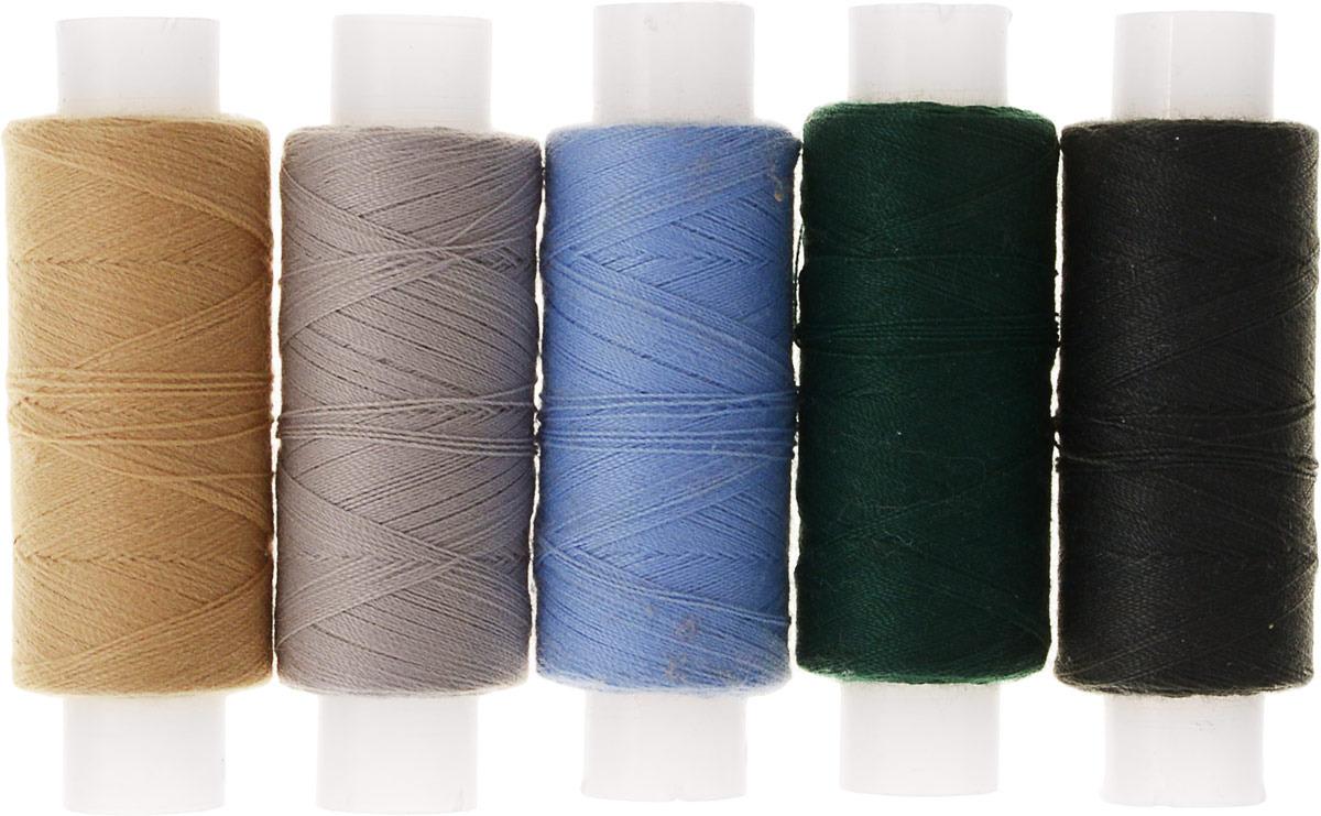 Набор цветных ниток ПНК им. Кирова, коричневый, красный, салатовый, бежевый, серый