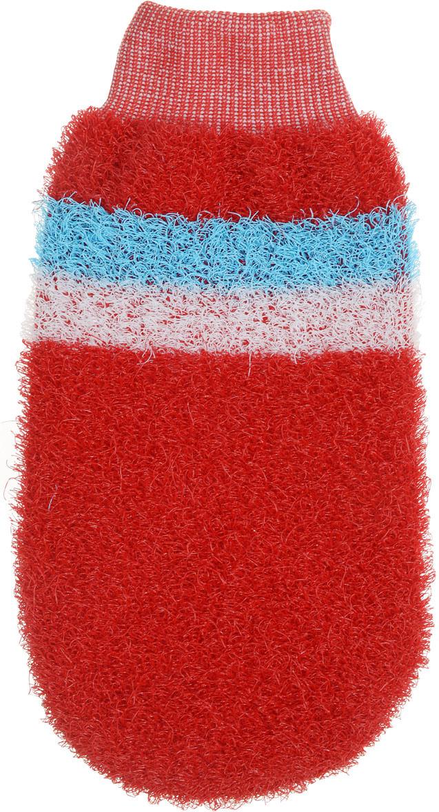 Мочалка-рукавица Riffi, жесткая, красный мочалка для тела жесткая зеленая cure nylon towel regular green