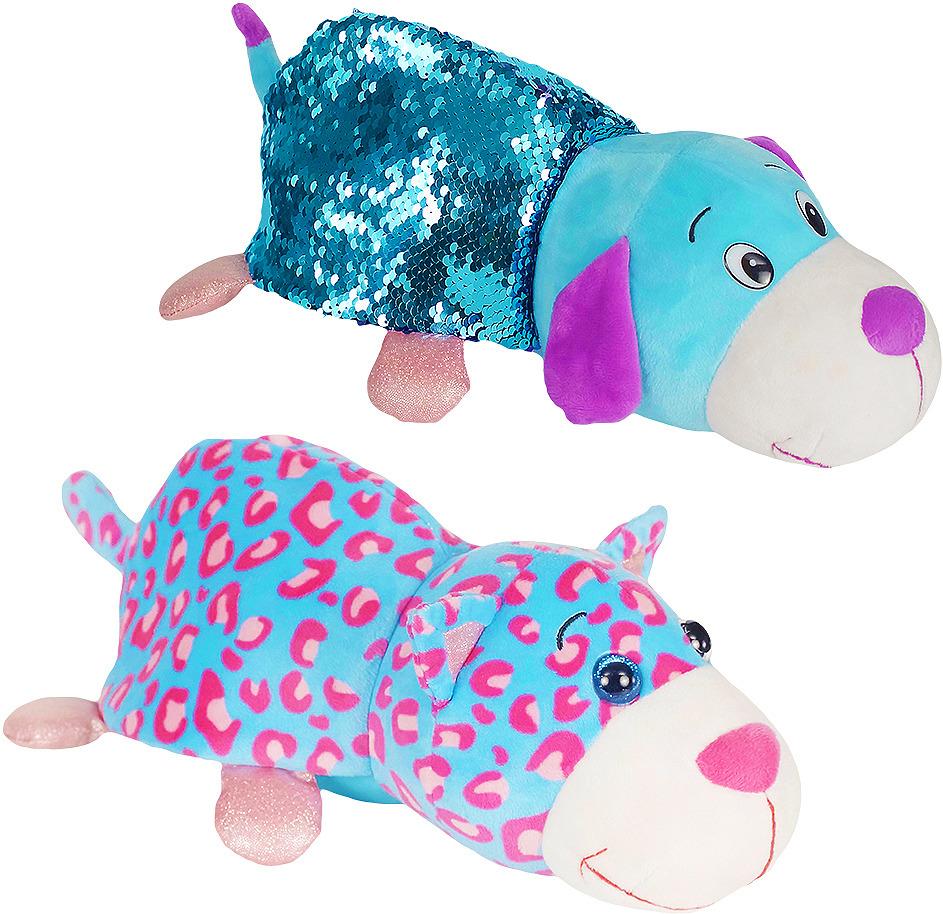 Мягкая игрушка 1TOY Вывернушка Блеск Котик-Щенок, длина 30 см