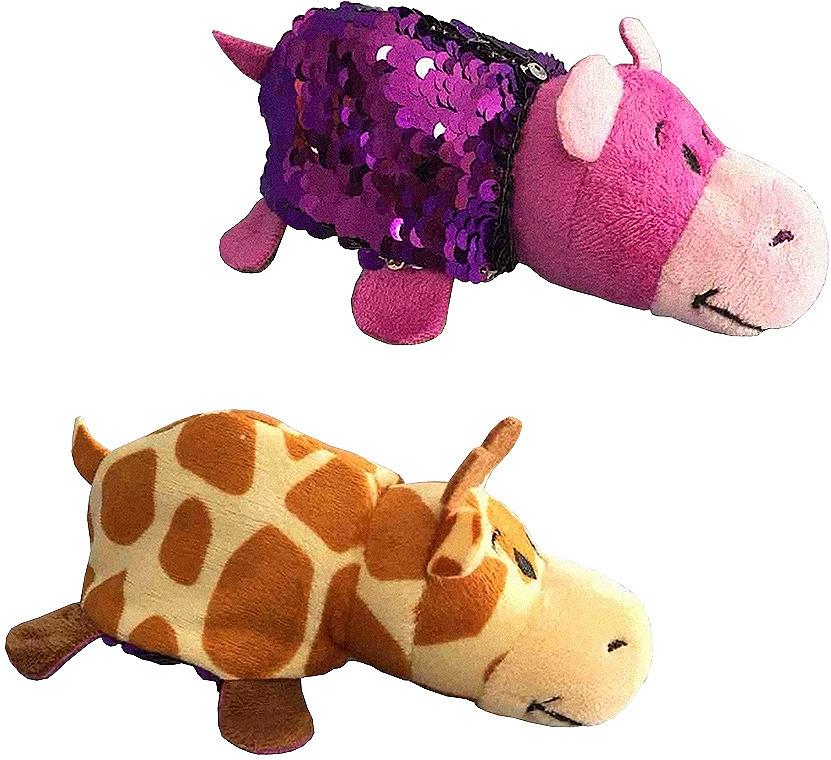 Мягкая игрушка 1TOY Вывернушка Блеск Жираф-Бегемот, длина 12 см
