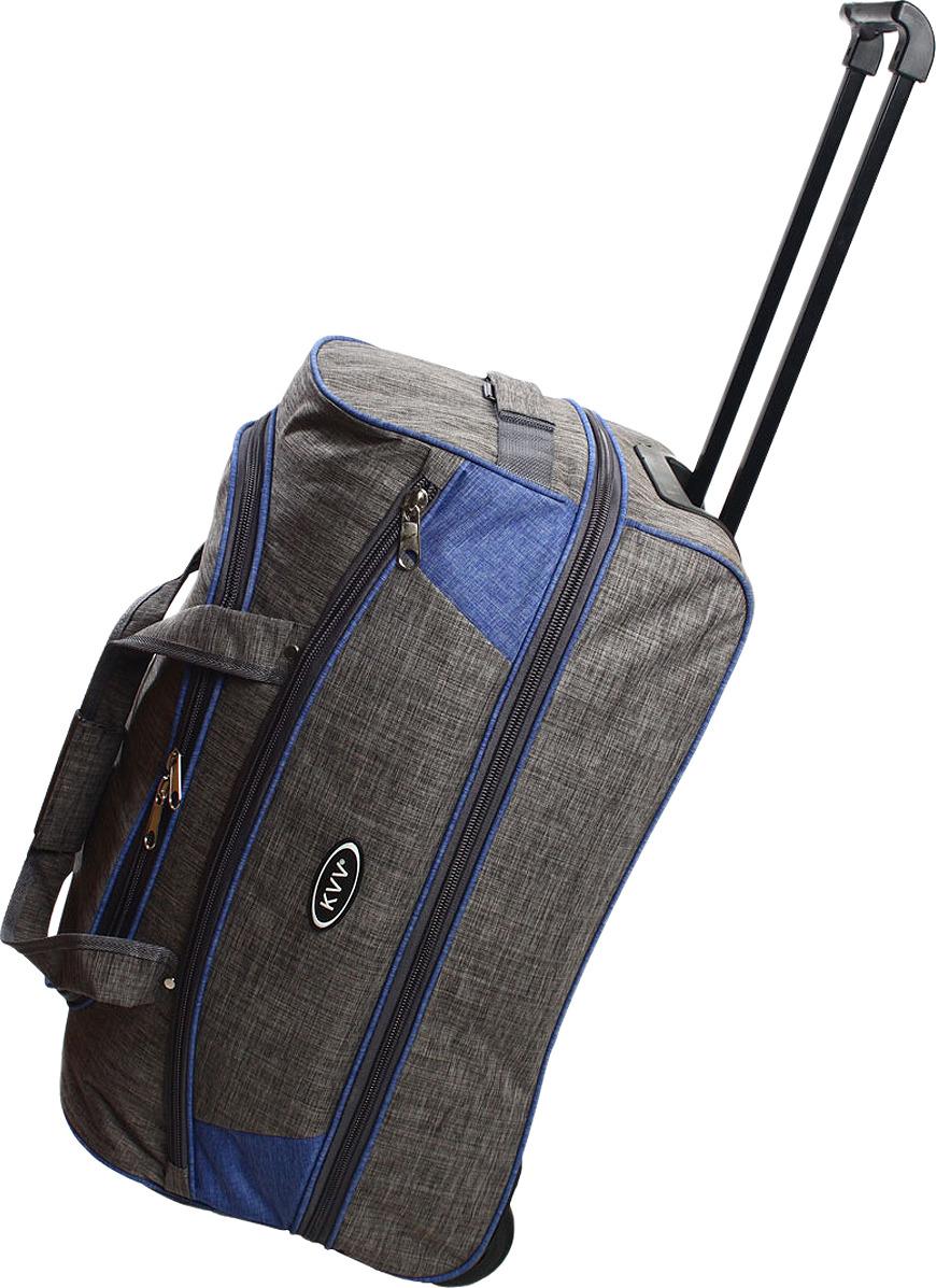 Сумка-тележка Ibag, серый, синий, 22211, 58 л сумка тележка хозяйств на колесах с выдвижной ручкой раз сумки33х23х55 см клетка ассорти 4 цв