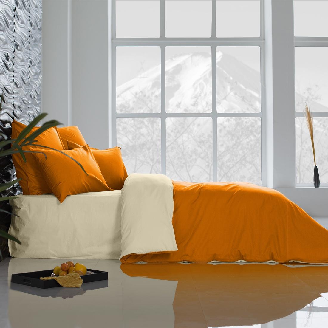 Комплект постельного белья Sleepix Совершенство, оранжевый, кремовыйpvao367703Микрофреш - это новинка в производстве ткани. Нежная, легкая, неприхотливая в уходе, а также абсолютно гипоаллергенная. является совершенной тканью нового поколения, значительно превосходит хлопковые ткани по своим свойствам.