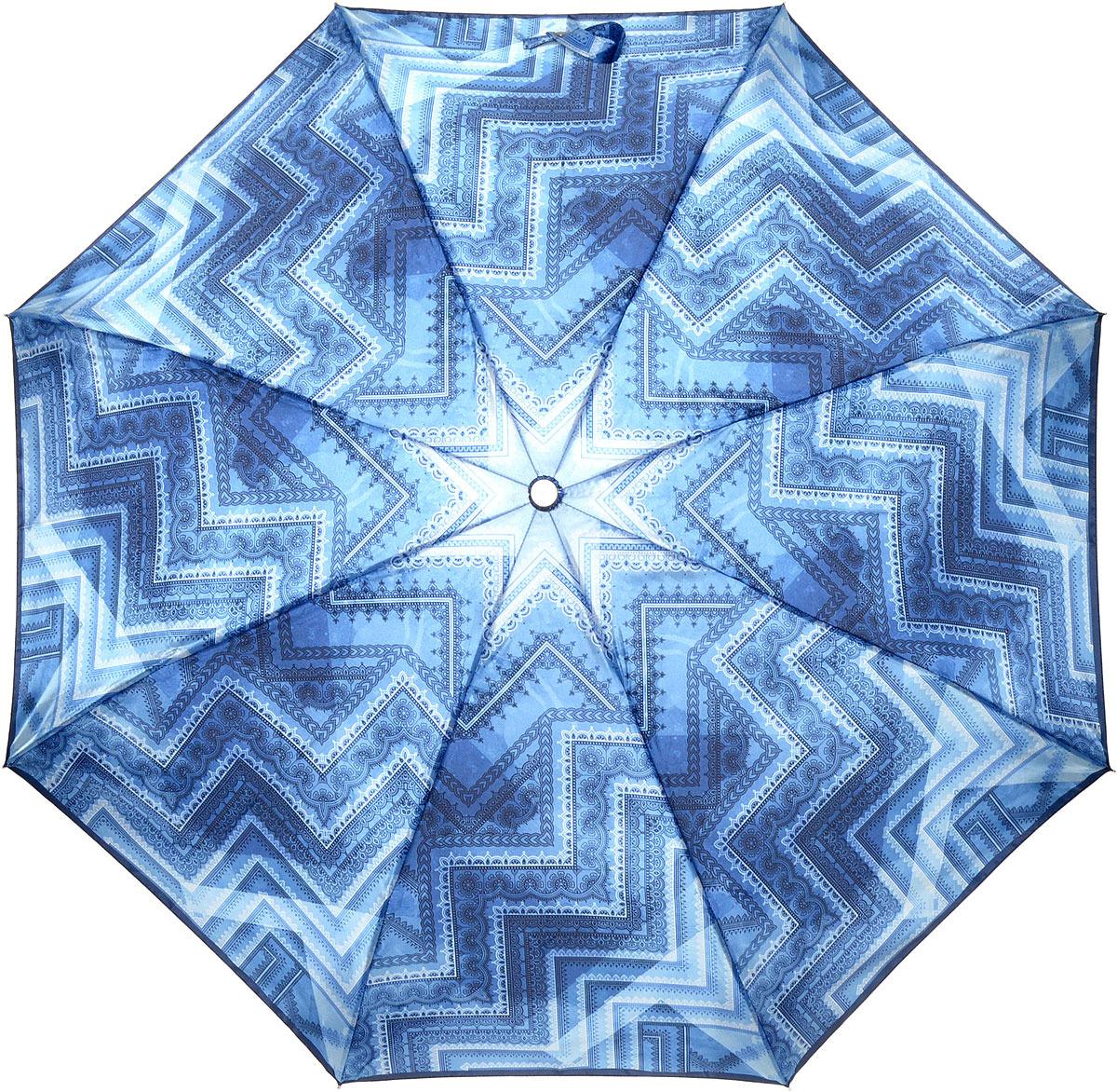 Зонт женский Fabretti, автомат, 3 сложения, цвет: синий. L-18114-8