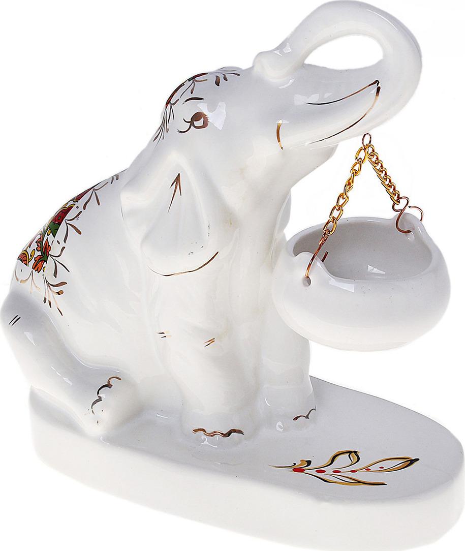 Аромалампа Керамика ручной работы Слон Индийский, 655653, белый аромалампа сова керамика v105 10 см