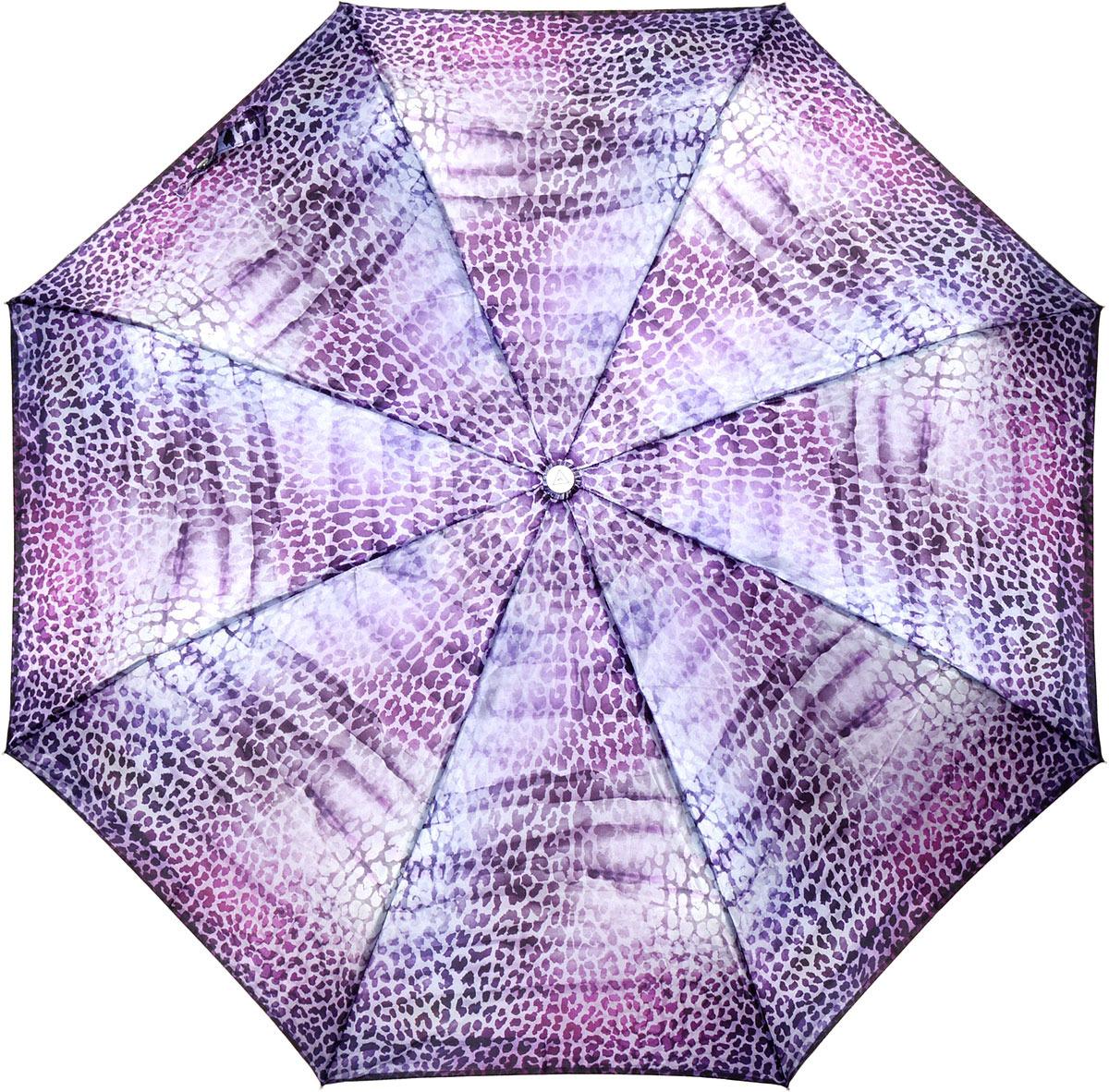 Зонт женский Fabretti, автомат, 3 сложения, цвет: фиолетовый. L-18117-