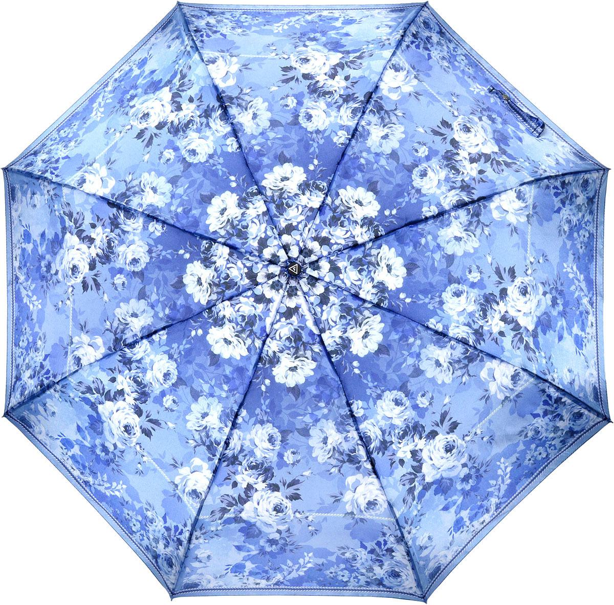 Зонт женский Fabretti, автомат, 3 сложения, цвет: синий. S-18102-11