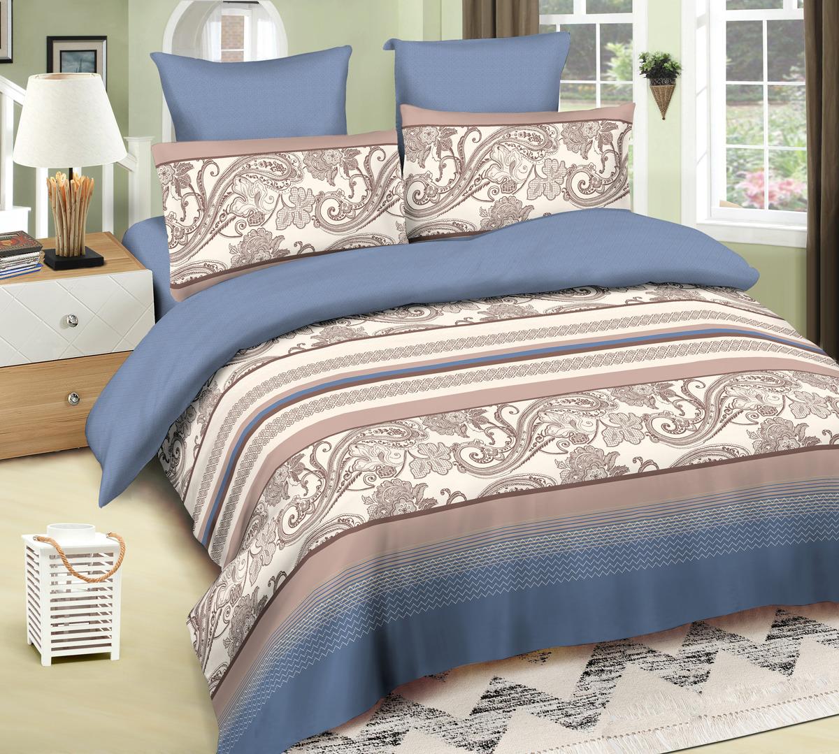 Комплект постельного белья Amore Mio Robert, евро, наволочки 50x70, 70x70