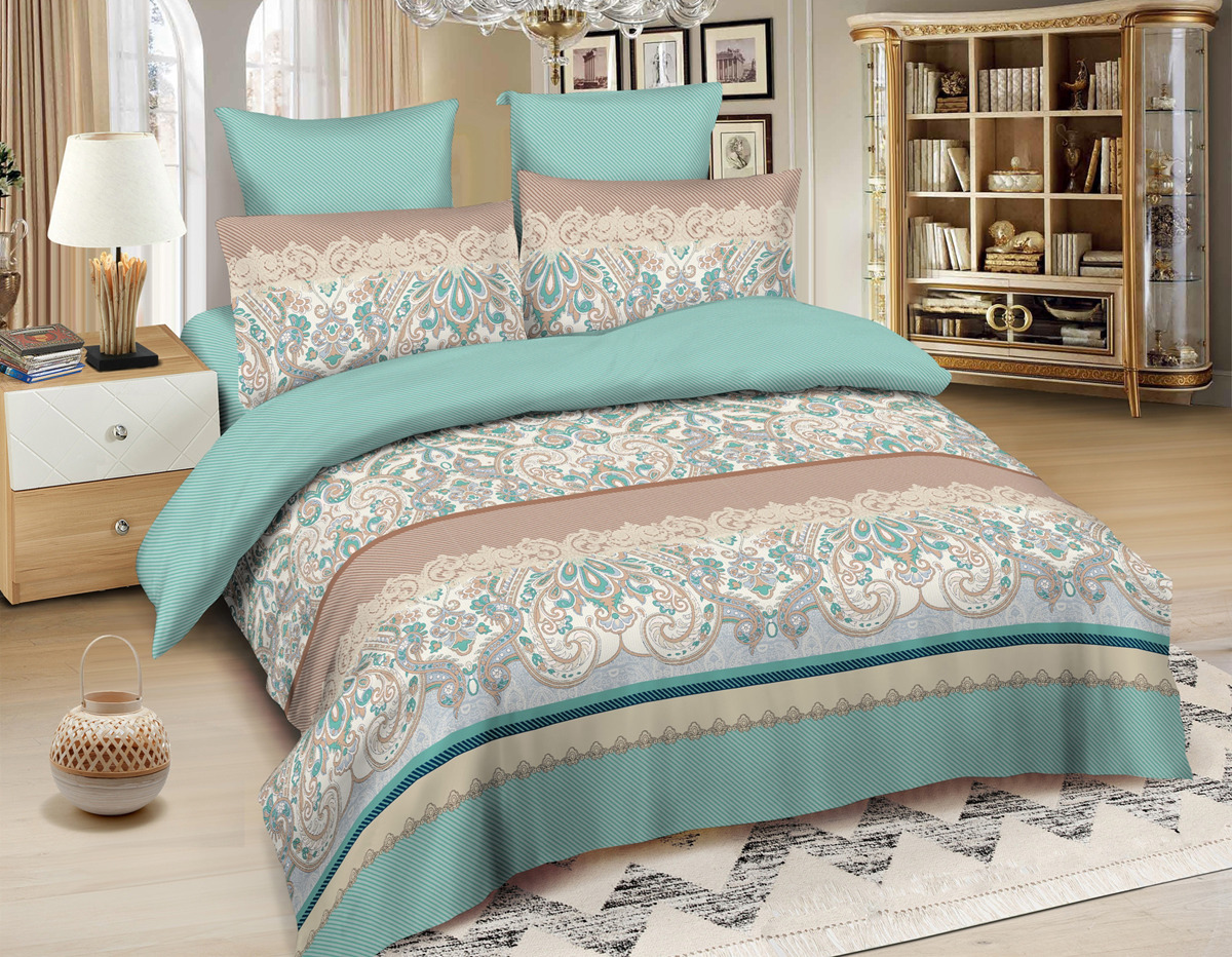 Комплект постельного белья Amore Mio Gold Jaipur, евро, наволочки 50x70, 70x70