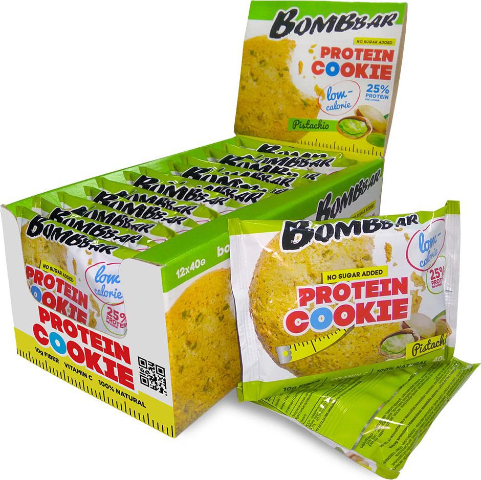 Протеиновое печенье Bombbar, низкокалорийное, фисташка, 12 шт по 40 г