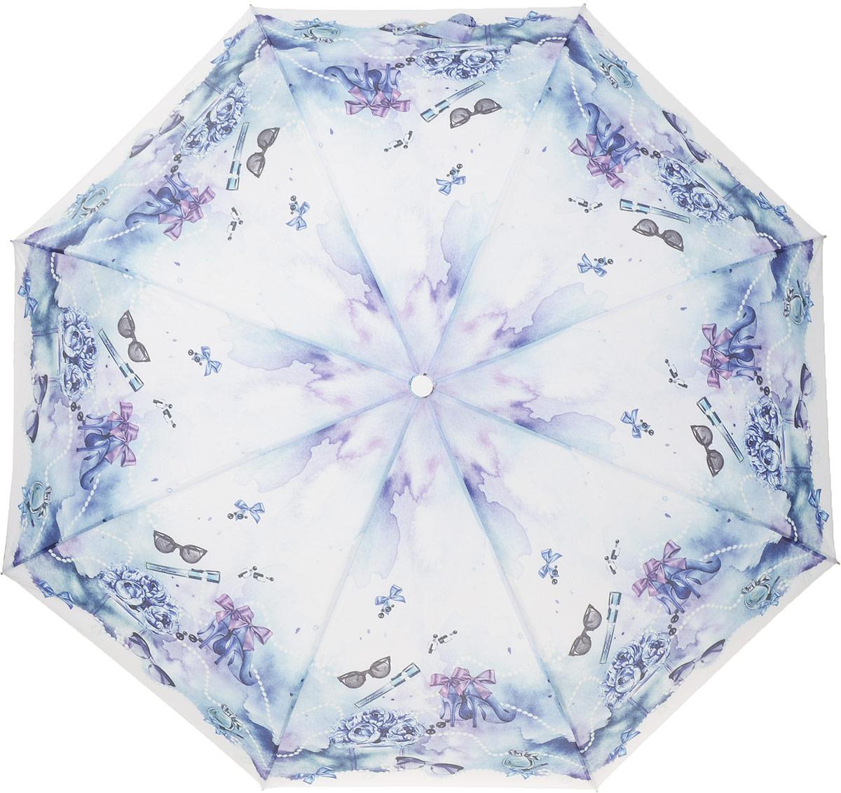 Зонт женский Fabretti, автомат, 3 сложения, цвет: голубой. L-18119-