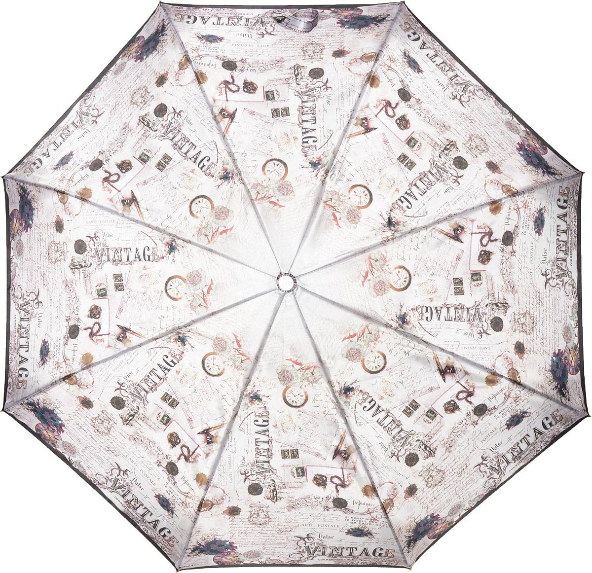 Зонт женский Fabretti, автомат, 3 сложения, цвет: серый. L-18117-