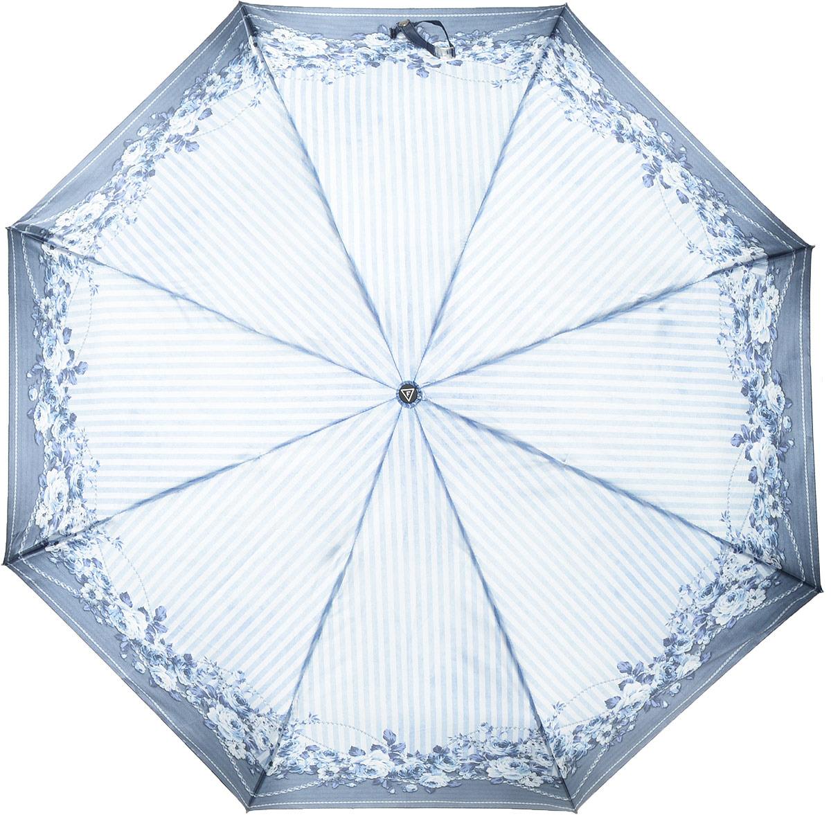 купить Зонт женский Fabretti, автомат, 3 сложения, цвет: голубой. S-18102-7 по цене 1031 рублей